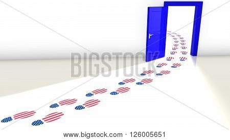3D illustration of the election in the USA with a blue open door for the democrats and a track of footsteps with an american flag texture leading through it