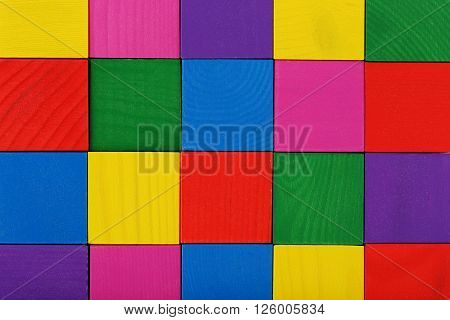 Colorful Wooden Toy Cubes Background, Close Up