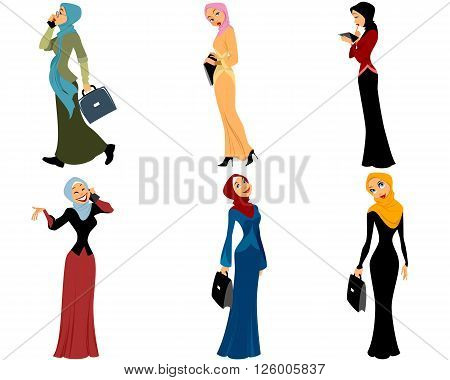 Vector illustration of a six modern muslim women