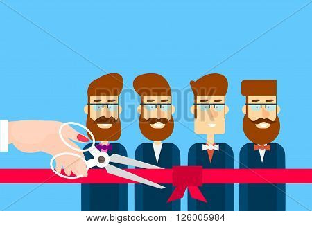 Grand Opening Hand With Scissors Cut Red Ribbon Bow Business Team Staff Presentation Flat Vector Illustration