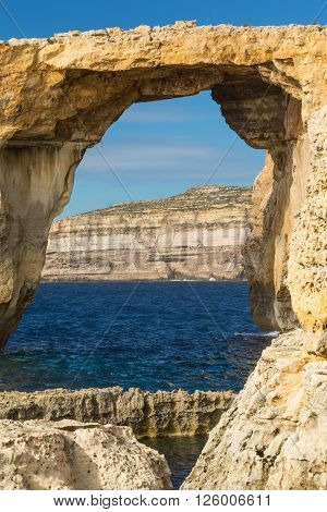 Azure Window - iconic natural rock arch over the sea at Dwerja Gozo island Malta