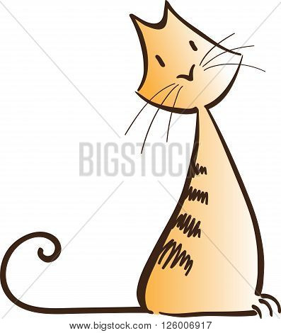 abstract ginger cat simple vector illustration isolated on white