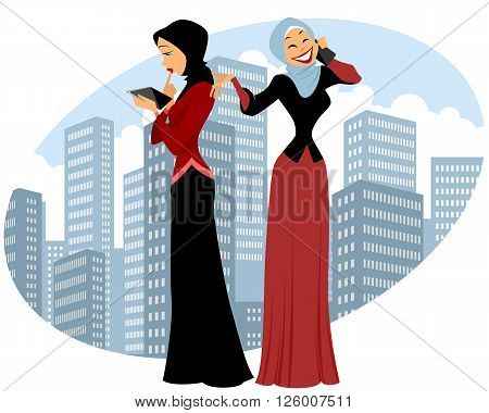 Vector illustration of a two businesswomen in city