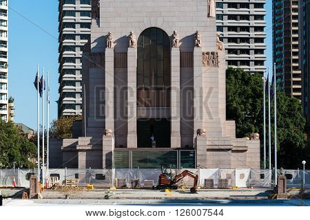 Sydney Australia - Mar 26 2016: Reconstruction process of Pool of Reflection. Pool of Reflection is a part of Anzac War Memorial at Hyde park Sydney Australia