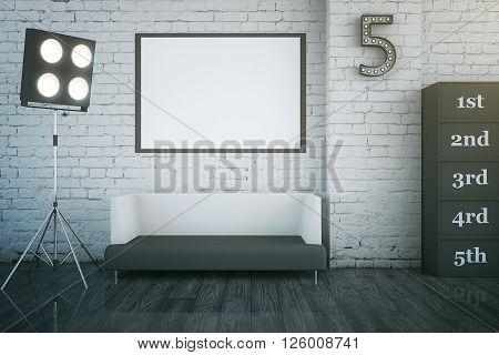 Star dressing room interior with blank picture frame sofa and other objects. Mock up 3D Rendering