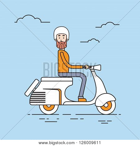 Man Ride Electrical Scooter Retro Electric Transport Thin Line Vector Illustration