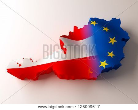 Flag map of Austria and European Union on white background. 3d rendering.