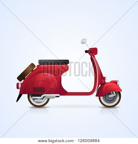 Electrical Scooter Retro Electric Transport Flat Vector Illustration