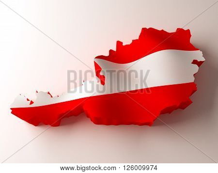 Flag map of Austria on white background. 3d rendering.