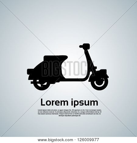 Motorcycle Scooter Motorbike Transport Black Silhouette Icon Vector Illustration