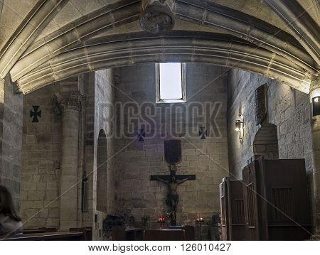 Logroño Spain - April 9 2016. Nave of San Bartolome church in Logroño La Rioja. Spain.