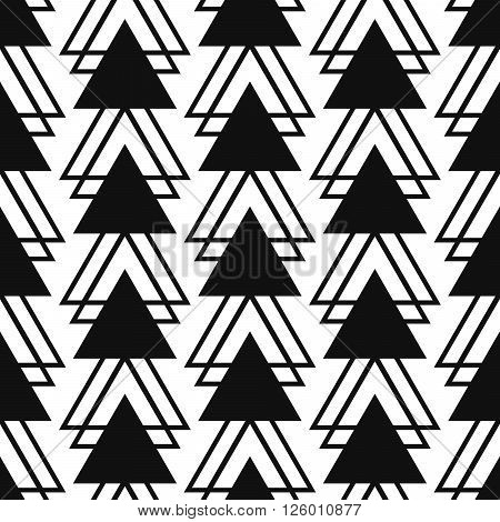 Simple triangle shape black and white seamless pattern. Vector geometric monochrome starlight background. Triangle pattern. Triangle monochrome classic ornament.