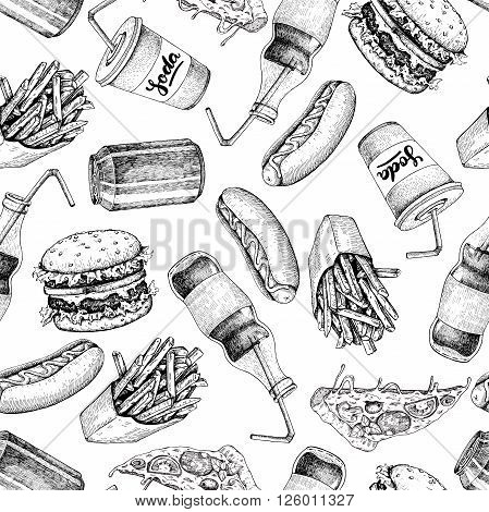 Hand drawn fast food pattern. Junk food and soda drinks background. Burger pizza hot dog french fries and soda detailed illustrations. Great for fast food restaurant menu or banner