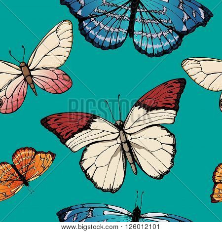 Butterfly pattern on blue background, seamless, design
