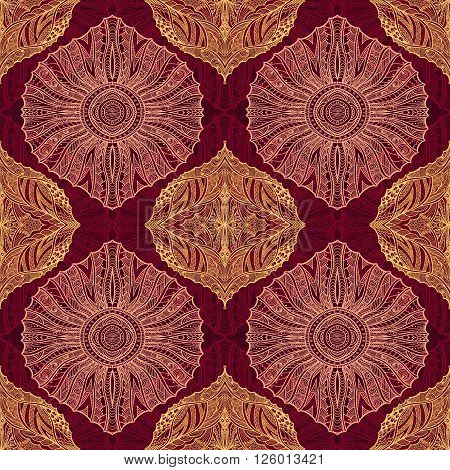 Seamless pattern in  Zen-doodle or  Zen-tangle  style burgundy for wallpaper or for decorate package clothes  or different things