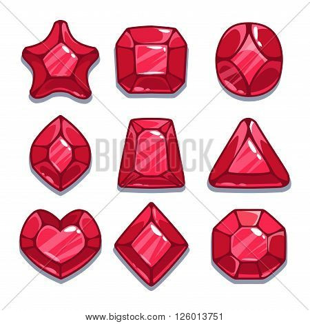 Cartoon red different shapes gems set, game ui assets,  isolated on white