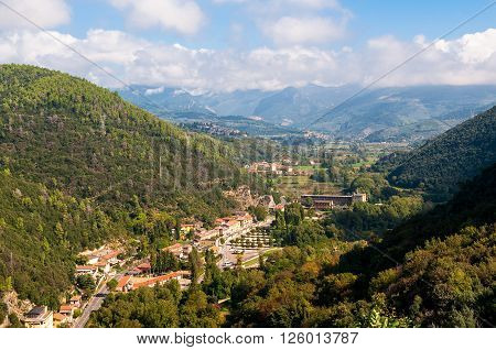 Aerial view of town village near Terni in Umbria Italy. Urban italian landscape aerial view
