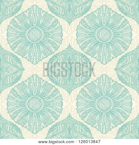 Seamless pattern in  Zen-doodle or  Zen-tangle  style light blue beige for wallpaper or for decorate package clothes  or different things