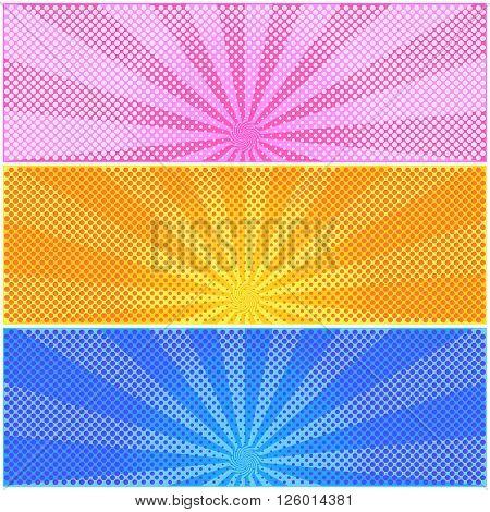 Set of halftone color background. Pattern design for banner, poster, brochure. Vector illustration.