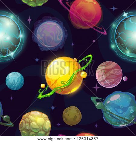 Seamless space pattern with cartoon planets, childish vector space illustration, fantasy planets on space background, cool space wallpaper for kids design