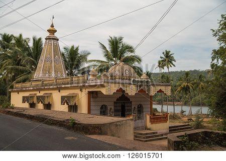 The colorful Hindu temple in Goa, India
