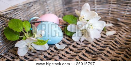 Closeup Of Painted Eggs In Basket, Selective Focus