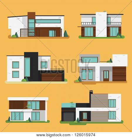 Set Colorful Modern Residential Houses. Flat design vector concept illustration.