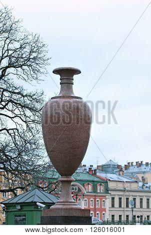 SAINT-PETERSBURG, RUSSIA - DECEMBER 2, 2015: Large granite amphora in the Summer Garden of Saint Petersburg in the autumn
