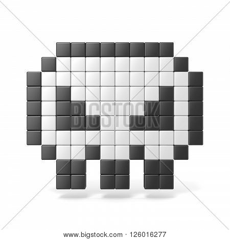 Pixelated 8bit skull icon. Front view. 3D render illustration isolated on white background