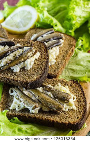 sandwiches with sprats and salad on rye bread close up