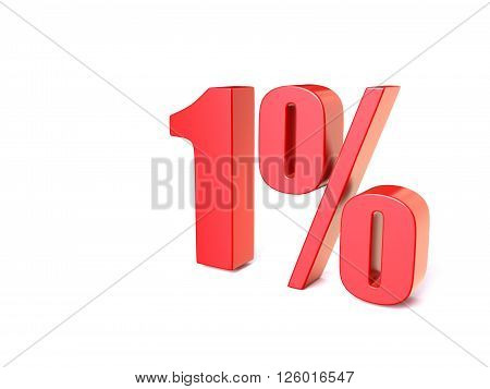 Red percentage sign 1. 3D render illustration isolated on white background