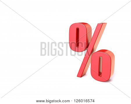 Red percentage sign. 3D render illustration isolated on white background