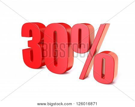 Red percentage sign 30. 3D render illustration isolated on white background