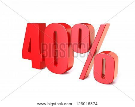 Red percentage sign 40. 3D render illustration isolated on white background