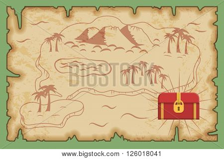 Ancient old pirate treasure map pattern, island map on brown old paper and ancient treasure chest with gold and riches.