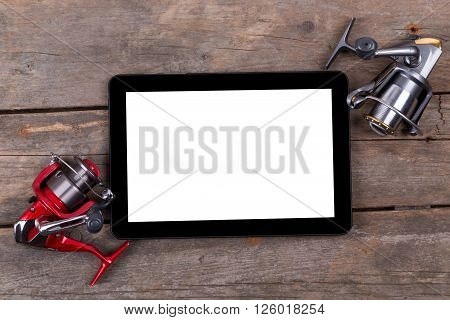 Mockup Frame Fishing Tackles Baits On Wooden