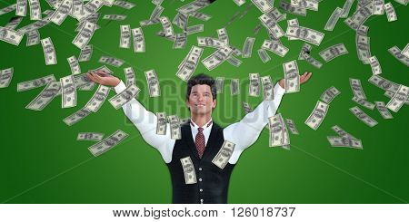 Corporate Business Man Catching Money Falling From the Sky in US Dollars 3d Illustration Render