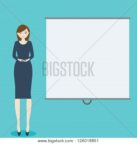 Business woman with blank demonstration board. Vector template place for your text presentations logos and other design
