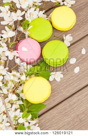Macaroon On Wooden & Flowers
