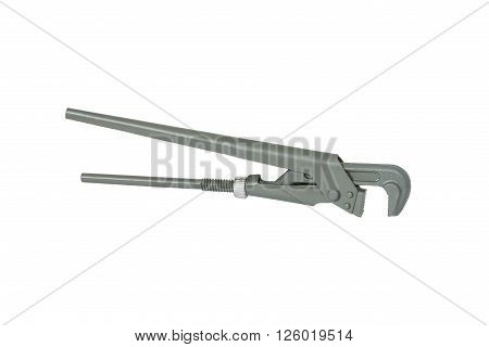 Grey adjustable wrench. Isolated on white background.