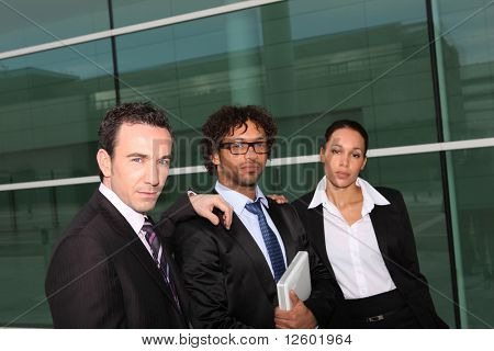 Men and businesswoman in the lobby of the agency