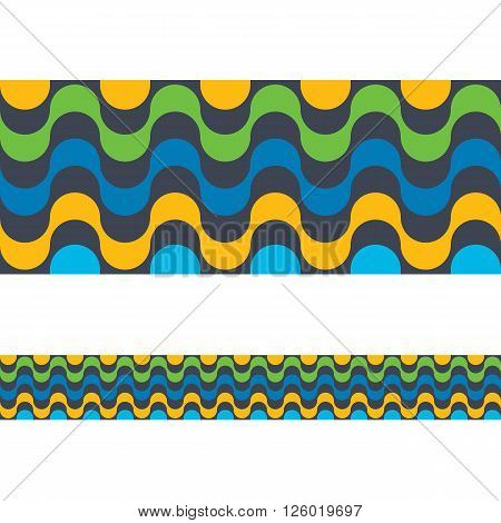 Copacabana Rio de janeiro beach seamless border. Vector illustration colorful background. Brazilian national colors.