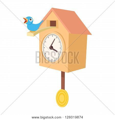 Vintage wooden cuckoo clock icon in cartoon style on a white background