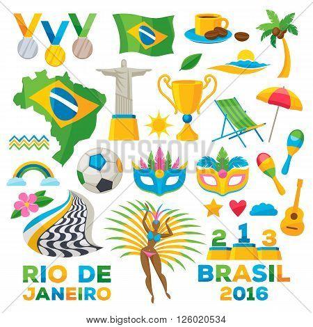 Brazilian icons symbols set vector illustration. Map flag football samba dancer  beach cup  jesus brazil flower carnival mask maracas colorful design.