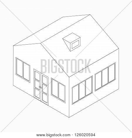 Big detached house icon in isometric 3d style isolated on white background