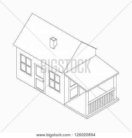 Cottage with porch icon in isometric 3d style isolated on white background
