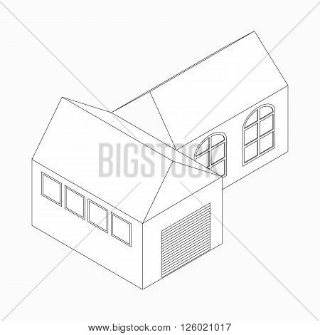 Detached house with garage icon in isometric 3d style isolated on white background
