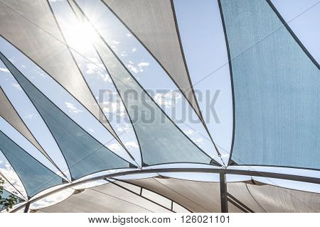 the artfully Awning under the blue sky
