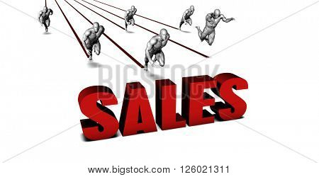 Better Sales with a Business Team Racing Concept 3d Illustration Render