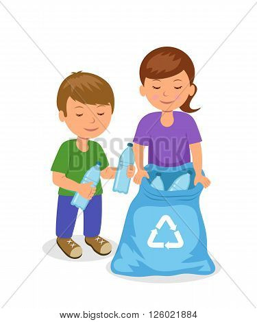Cute kids to gathering plastic bottles in garbage bag. The concept of environmental protection. Isolated boy and girl characters volunteers.